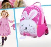 Sac a dos enfant rose motif lapin