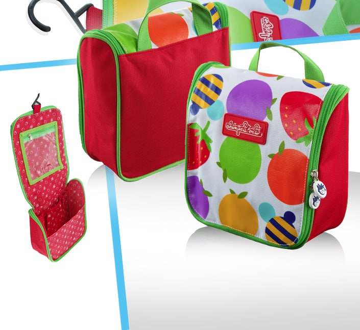 Fabricant de trousse de toilette enfant polyester fruits