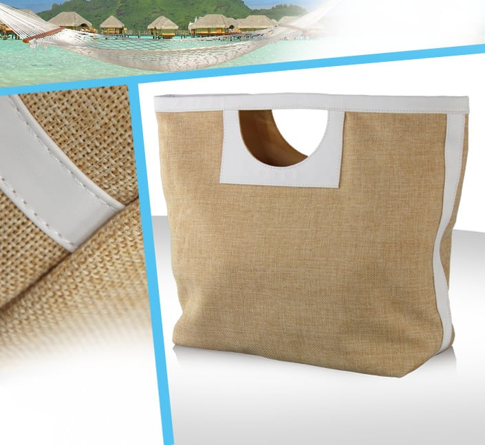 Conception de sac plage mode jute simili