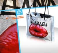 sac boutique argente brillant