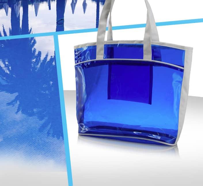 Fabricant de sac transparent curistes PVC bleu et 600D personnalisé