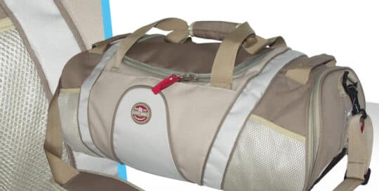 sac de sport polyester et mesh beige