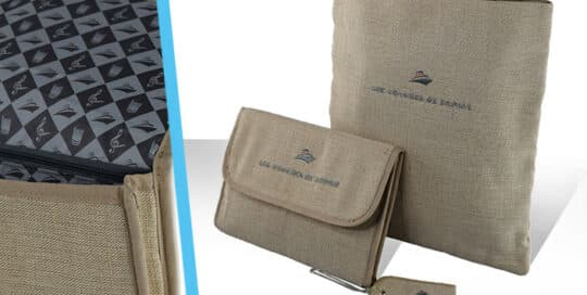 Création de Collection bagagerie coton jute marquage logo broderie tourisme