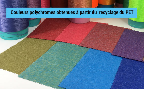 Panel de couleurs polychromes obtenues à partir du recyclage du PET