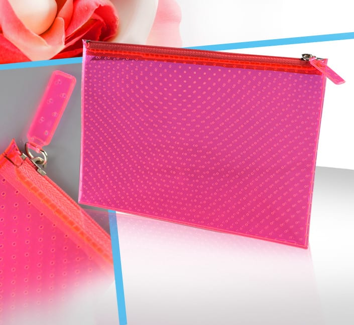 Fabricant de pochette cosmetique femme transparente rose fluo perforee