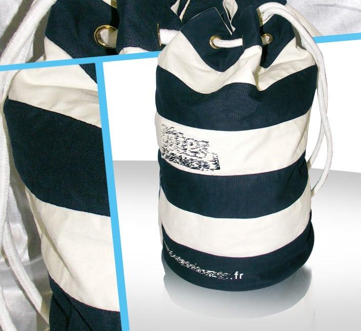 sac marin coton raye personnalise
